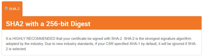SHA2 SSL