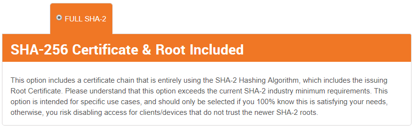 Full SHA2 SSL