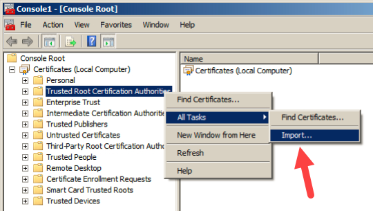Import Root Certificate