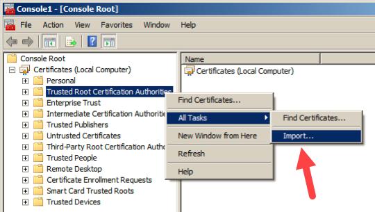 Import Root Certificate