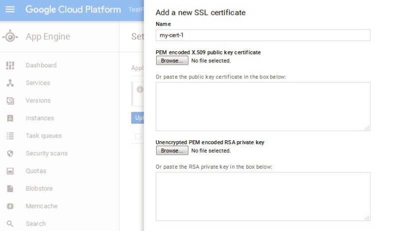 Add New SSL Certificate