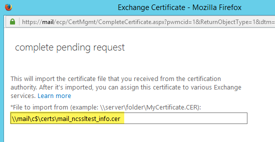 Saved Certificate Path