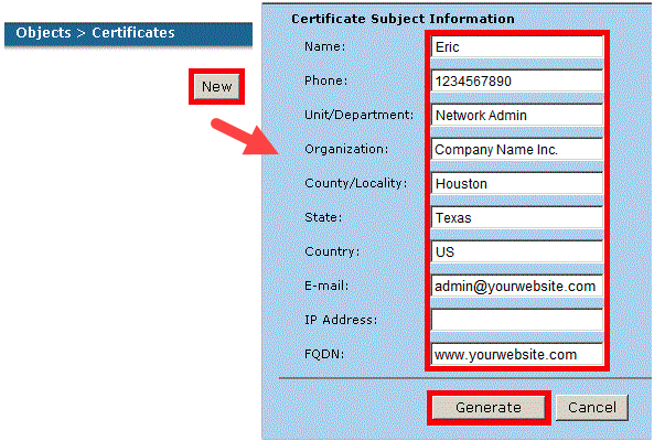 Certificate Subject Information
