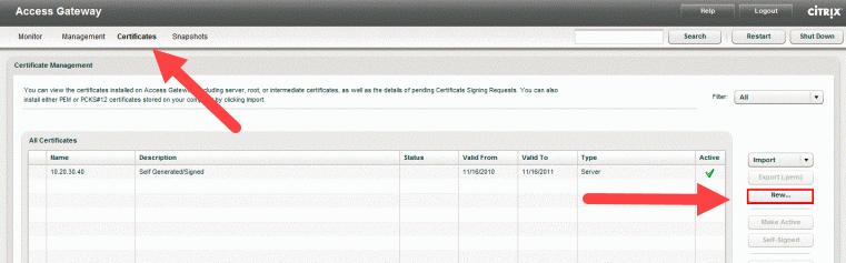 Citrix Access Gateway Management Console