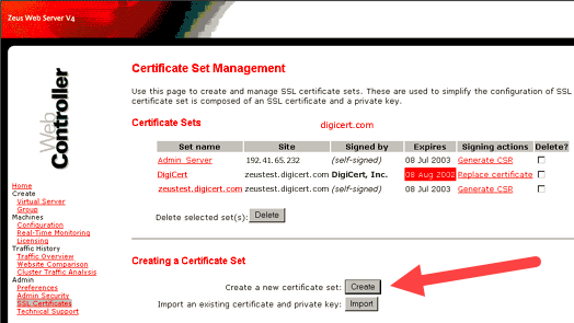 Certificate Set Management