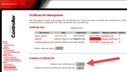 Certificate Set Management